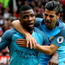 Sharpshooter: Kelechi Iheanacho (left) celebrates with Nolito after scoring ManchesterCity's second goal at Old Trafford