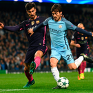Weaving: David Silva takes on Barcelona's Andre Gomes