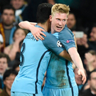 Job done: Kevin De Bruyne and Ilkay Gundogan hail third goal