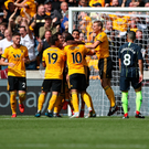 Controversial goal: Wolves celebrate Willy Boly's opener