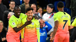 Get in: David Silva celebrates his goal in City's win over Palace