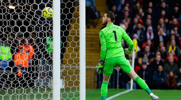 Pivotal moment: David De Gea fails to deal with a shot from Watford's Ismaila Sarr