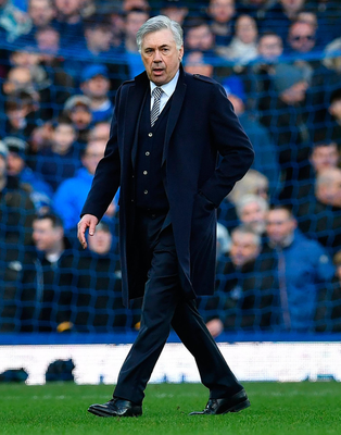 Late dismissal: Carlo Ancelotti leaves the field after being red carded