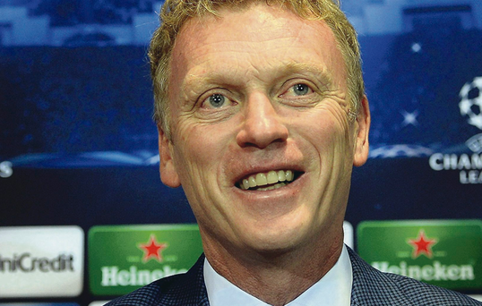 New role: David Moyes at his first Champions League press conference