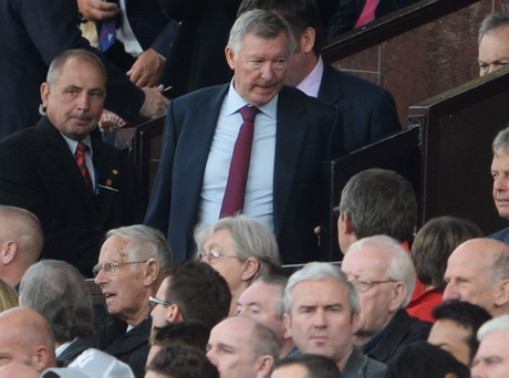 MANCHESTER, ENGLAND - SEPTEMBER 14: Former Manchester United manager Sir Alex Ferguson takes his seat during the Barclays Premier League match between Manchester United and Crystal Palace at Old Trafford on September 14, 2013 in Manchester, England. (Photo by Michael Regan/Getty Images)