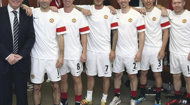 Sir Alex Ferguson with his 'fledglings' – Ryan Giggs, Nicky Butt, David Beckham, Gary Neville, Phil Neville and Paul Scholes