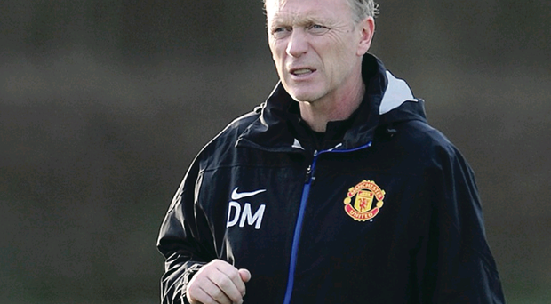 David Moyes, seen here taking training yesterday has endured a difficult first few months to his reign at Old Trafford