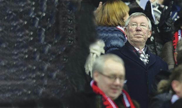 Not exactly a face in the crowd: Sir Alex Ferguson has attended a lot of Manchester United matches