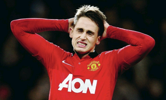 MANCHESTER, ENGLAND - JANUARY 22: Adnan Januzaj of Manchester United reacts after his penalty is saved during the Capital One Cup semi final, second leg match between Manchester United and Sunderland at Old Trafford on January 22, 2014 in Manchester, England. (Photo by Laurence Griffiths/Getty Images)