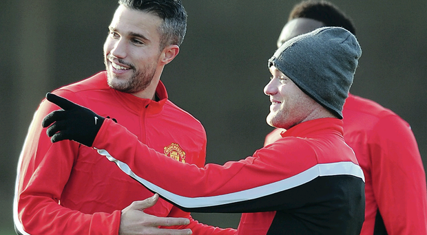 Manchester United will rely on Wayne Rooney (right) and Robin van Persie to keep their slim hopes of Champions League football alive