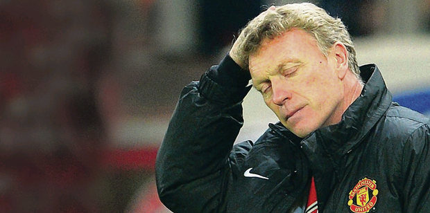 Sinking feeling: David Moyes can't hide his despair in Greece last night