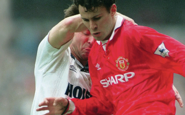 Rolling back the years: Ryan Giggs playing for Manchester United against Spurs in 1992