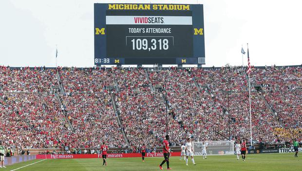 Michigan confirmed Manchester United v Real Madrid attendance as a record for a football game in the United States