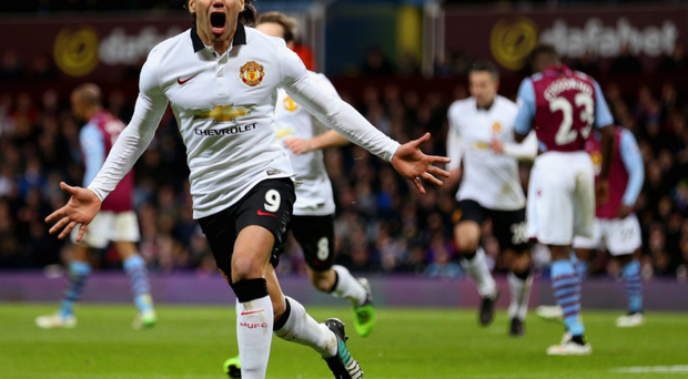 Shout it out: Radamel Falcao celebrates after scoring to level the game at Villa Park