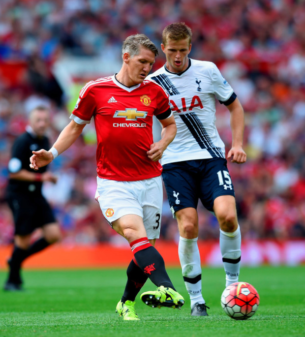 In control: New Manchester United signing Bastian Schweinsteiger steers possession away from Spurs' Eric Dier