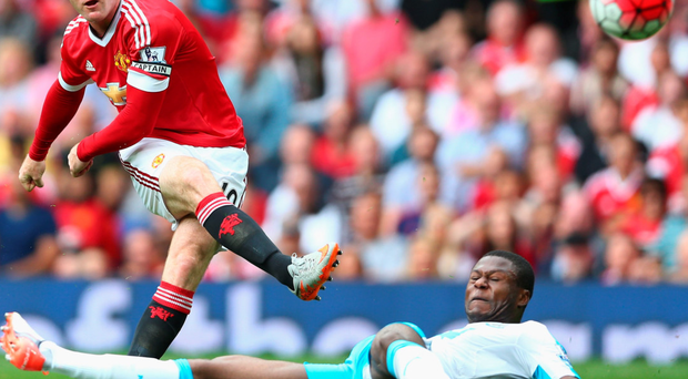 Hit and a miss: Wayne Rooney takes a shot against Newcastle but can't end his long streak without a goal
