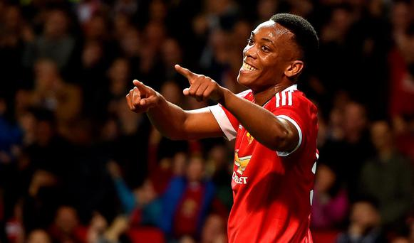 Martial arts: Manchester United's Anthony Martial celebrates scoring his side's third goal against Ipswich Town