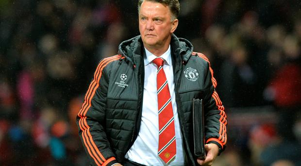 Relief: Louis van Gaal was glad to see Man United score