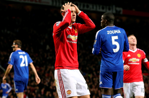 Missed opportunity: Ander Herrera sums up the mood for Manchester United during the Red Devils' 0-0 draw with Chelsea