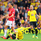 Foiled again: Zlatan Ibrahimovic shows his frustration in United's defeat to Watford