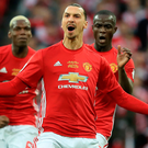 Born winner: Zlatan Ibrahimovic celebrates netting United's opener in the EFL Cup final