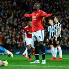 Romelu Lukaku celebrates scoring Manchester United's fourth goal