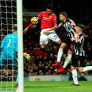 High point: United's Chris Smalling scores against Newcastle after being dropped by England