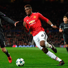On the ball: Paul Pogba takes on CSKA Moscow's Mario Fernandes during Tuesday's Champions League clash at Old Trafford