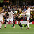 Striker's finish: Chris Smalling controlled the ball before vollying it into the Watford net