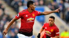 Ton up: Marcus Rashford marked 100th appearance with only goal
