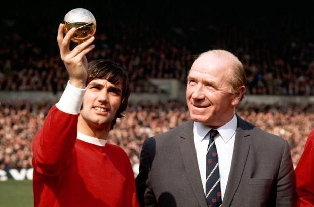 Golden boy: George Best shows Matt Busby his European Player of the Year title