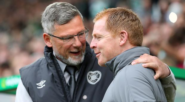 Mutual respect: Craig Levein with Neil Lennon before his sacking as Hearts manager