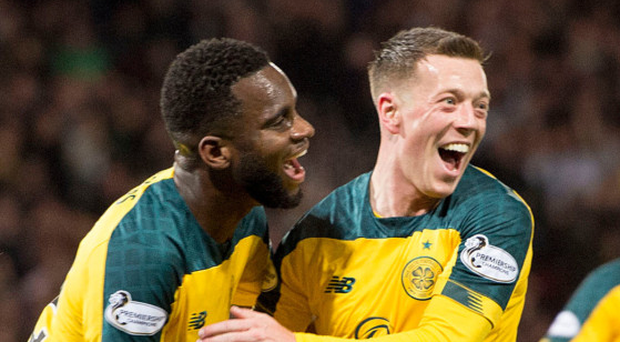 Dream team: Callum McGregor celebrates with Odsonne Edouard