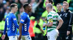 Red mist: Alfredo Morelos walks off the pitch after being shown a red card following an elbow on Scott Brown back in March
