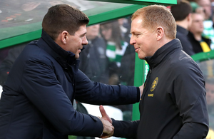 Shake on it: Steven Gerrard and Neil Lennon are ready to go head-to-head once again in the battle for Old Firm delight