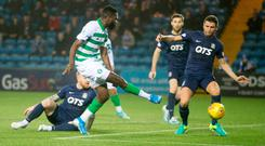 Net buster: Celtic's Odsonne Edouard scores his side's first goal last night PA