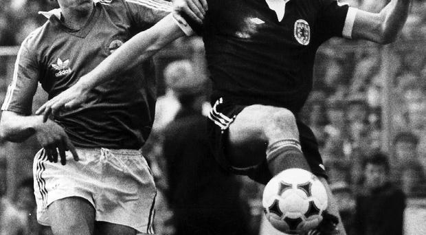 Huge loss: Sandy Jardine in action for Scotland against Terry Cochrane of Northern Ireland