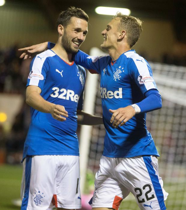 On target: Ulsterman Dean Shiels (right) celebrates his goal for Rangers against Airdrie with Nicky Clark