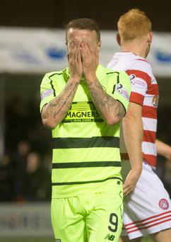 Pay penalty: Leigh Griffiths after missing spot kick