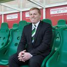 Hotseat: Neil Lennon is introduced as new Hibs boss yesterday at Easter Road
