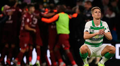 Bitter blow: Kristoffer Ajer feels the pain as Celtic exit the Champions League. The Hoops have now bowed out at this stage in successive seasons, after losing to AEK Athens last term