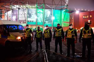 On alert: Police outside Parkhead following Celtic's Betfred Cup defeat against Ross County