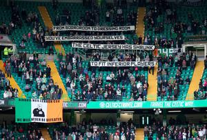 Celtic fans show their frustration ahead of the game with Ross County