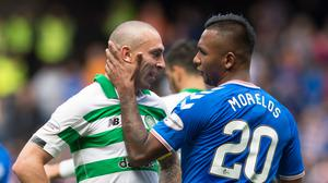 Contrasting fortunes: Scott Brown proved his doubters wrong with an influential display, while second-half substitute Alfredo Morelos is still waiting for his first goal against Celtic