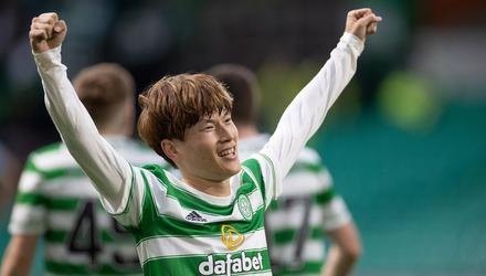 Kyogo Furuhashi has already earned his spot in the affections of the Celtic support. (Photo by Steve Welsh/Getty Images)