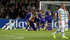 Morales Tavares of NK Maribor celebrates after scoring against Celtic at Parkhead last night
