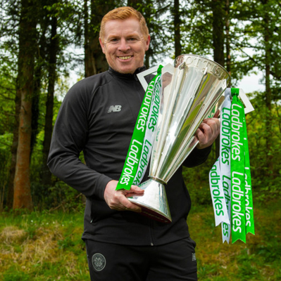 Deserved victory: Neil Lennon with the Scottish Premiership trophy