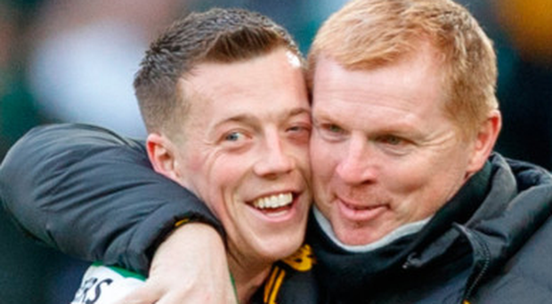 Neil Lennon, right, with Callum McGregor