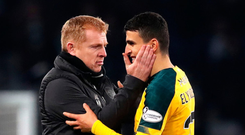 Show stealer: Neil Lennon congratulates Mohamed Elyounoussi on a fine display at Hampden