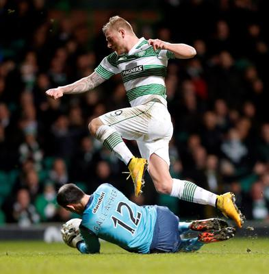 Safe: John Guidetti is denied by Partick's Paul Gallach